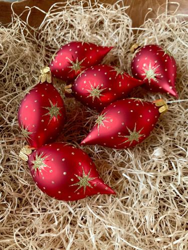 Hvězdičky - červená se zlatou - olivy 6ks