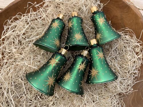 Hvězdičky - zelená se zlatou - zvonky 6ks