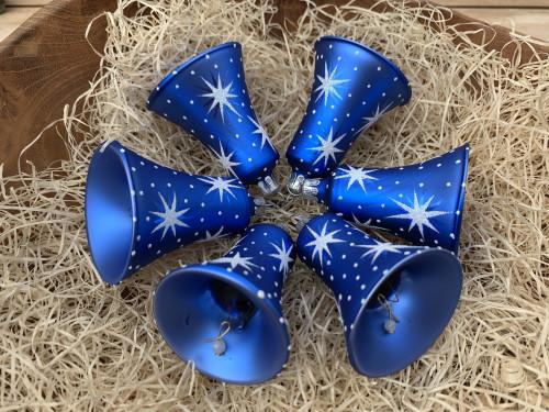 Hvězdičky - modro-bílé - zvonky 6ks