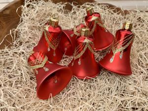 Náhrdelník červený - zvonky 6ks