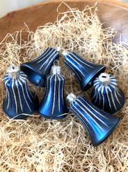Vánoční paprsky - tmavě modrá - zvonky 6ks