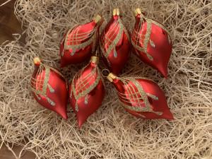 Náhrdelník červený - olivy 6ks