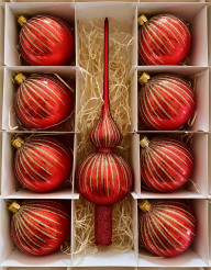 Vánoční paprsky - červená - set