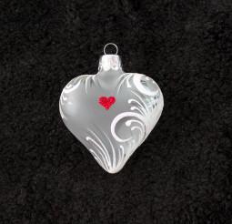 Srdce bílý ornament, srdíčko se jménem, bílý text