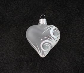 Bílé srdíčko ornament se jménem, bílý text