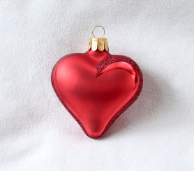 Červené lesklé srdce, bílý text