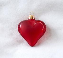 Červené matné srdce, bílý text