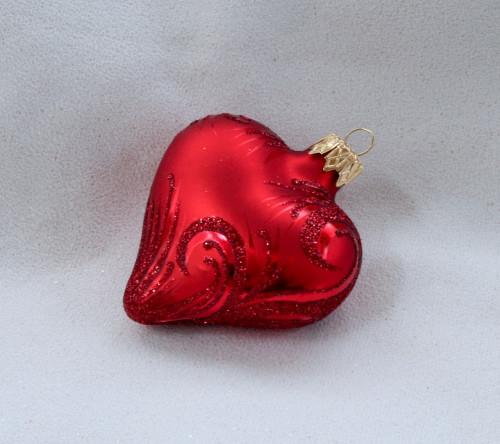 Červený ornament - srdce