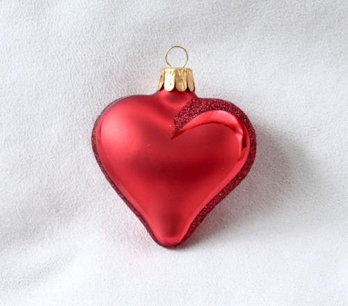 Srdce červené lesklé, bílý text
