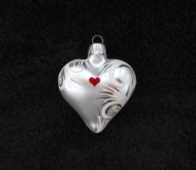 Srdce perleťové, srdíčko se jménem, bílý text