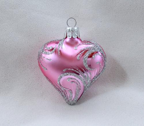 Stříbrný ornament - růžové srdce