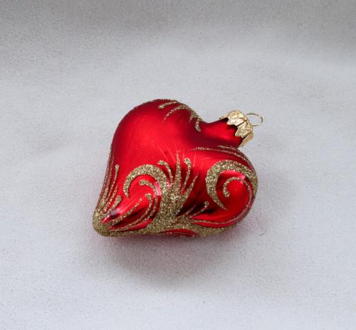 Zlatý ornament - červené srdce